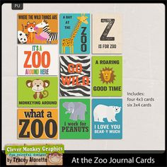 At the Zoo Journal Cards by Clever Monkey Graphics - Digital scrapbooking kits available through Oscraps, GingerScraps, or MyMemories
