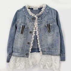 Add lace to size too small jacket around wrists and waist.