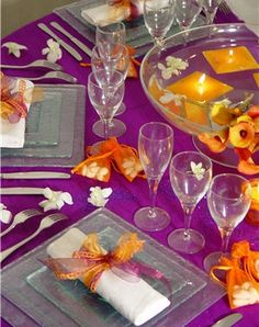 Décoration de table Bollywood - Violet & orange