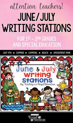 This multi-page June/July Writing Stations packet is the perfect addition to your Daily 5 stations. The themes included are: Summer, Camping, Beach, Amusement Park, and Fourth of July. Perfect writing station ideas for ESL, homeschool, special education, preschool, kindergarten, first grade, second grade and third grade. Click to download now. #firstgrade #secondgrade #kindergartenteacher #earlylearning #homeschool #specialeducation