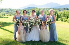 """Bride with her bridesmaids and flower girls. The flower girl dresses were custom """"made with love"""" by her Maid of Honor! #bestdayever61816"""