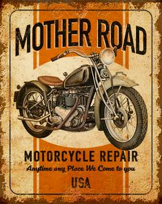 Vintage Cars, Retro Vintage, Motorcycle Posters, Vintage Metal Signs, Garage Art, Old Signs, Design Graphique, Decoupage Paper, Vintage Advertisements