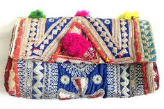 Beautiful Vintage Banjara clutch bag Indian gypsy tribal hand embroidered mirror work small cotton banjara clutch / purse on Etsy, US$ 49.00
