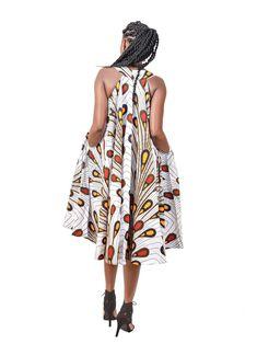 White bulb dress by ankara-dress - Long dresses - Afrikrea Latest African Fashion Dresses, African Dresses For Women, African Print Fashion, Africa Fashion, Short Summer Dresses, Long Dresses, Dress Long, Ankara Maxi Dress, Ankara Long Gown Styles