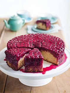 raspberry and almond upside-down cake from donna hay