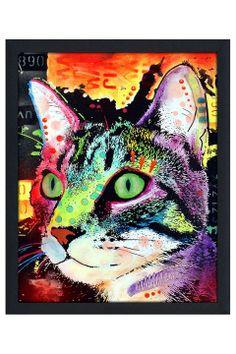 Dean Russo Curiosity Cat, Framed Canvas - Beyond the Rack