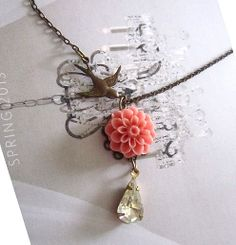 coral mum with antique bird teardrop clear stone by youmademyday, $12.99