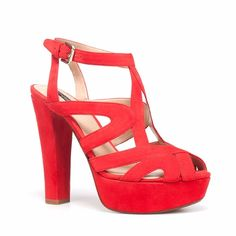 """Zara Red Strappy High Heel Platform Sandal  8/38 Fire red platform sandal. Perfect for summer casual wear. Heel height: 4.5"""" Platform: 1"""". Worn 2x. In overall great condition. Zara Shoes Heels"""