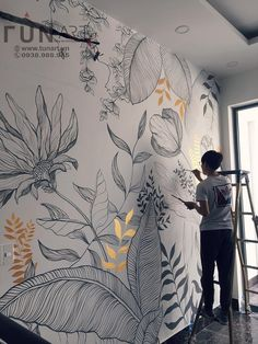 Wall Painting Decor, Mural Wall Art, Wall Decor, Fabric Painting, Creative Wall Painting, Painting Tile Floors, Wall Paintings, Paint Designs, Diy Wall