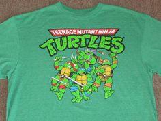 Teenage Mutant Ninja Turtles TMNT Mens Heather Green Retro Graphic T Shirt XL