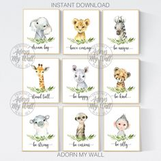 Safari Animal Prints, Nursery Printables, Set Of Animals With Leaves Prints, Gender Neutral Nursery Prints, Safari Nursery Wall Art
