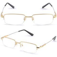 Half Rimless Light Men's Women's Frame Memory Titanium Prescription Glasses Gold #Unbranded Glasses For Round Faces, Gold Diamond Watches, Womens Glasses, Eyeglasses For Women, Gold Dress, Reading Glasses, Chicken Gnocchi, Gnocchi Soup, Eyewear