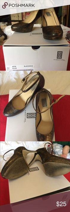 Elegant black and gold ankle strap heels Elegant black and gold, closed toe, ankle strap. 4 inch height. Size 6 1/2. All reasonable offers accepted! Shoe Dazzle Shoes Heels