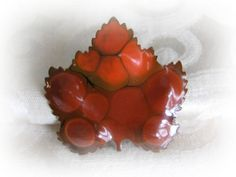 Enamel Maple Leaf Brooch Pin West Germany Lightweight pin with beautiful enameling in shades of orange, red, and brown. In excellent condition.