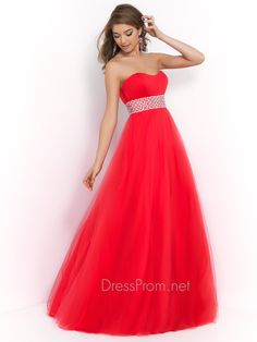 This beautiful and affordable Blush prom dress is perfect for prom, homecoming, sweet 16 or any special occasion. The Blush prom dress 5407 features a strapless neckline, pleated bust, and wide beaded waistband adorned with chunky ab stones. Completing this Blush prom dress is a full A-line skirt. Features:  Silhouette: A-line  Neckline: Strapless  Available in sizes 0 through 24   Colors include bittersweet, cobalt, French rose