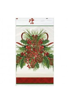 Holly Sprig Plastic Tablecover - Christmas & Winter Party Decoration & Tableware Ideas