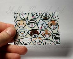 """ACEO Ferret Print """"One Million Faces 2"""" Shelly Mundel Art NEW!!"""