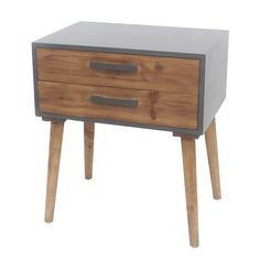 Wooden Side Table with 2 Drawers and Tapered Legs, Brown and Gray (MDF - Rectangle - Side Tables - Solid Wood - 3 and 4 Legs - Wood Finish - Modern & Brown And Grey, Gray, Wooden Side Table, Family Room Design, Large Furniture, Transitional Style, End Tables, Decorative Items, Mesas