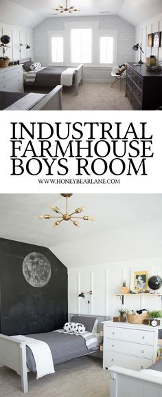 Seriously how cute is this industrial farmhouse boys room? I love the star wars decor too