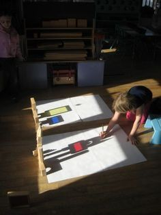 Shadow drawings at the building center