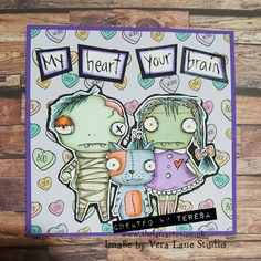 I have another Halloween card featuring Vera Lane Studio images and Papercakes by Serena Bee's papers. Say hello to Vera's Zombies – they make such a sweet family!! I love this cr…