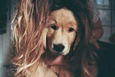 Girl puppy hair