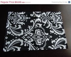 SUPER SALE Reversible Placemat  Damask  Retro Modern by thefarley4, $7.20