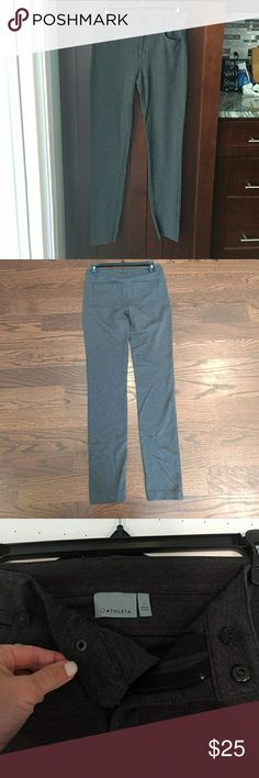 Athleta Gray Ponte Pant, size 2 Gray dress pants with the feel of leggings! Narrow leg opening, but has zip and button fly and actual pockets at front and back. Athleta Pants Skinny