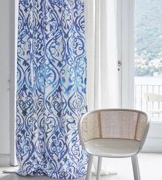 Elegant inky scrolls set in an arabesque form create this dynamic fabric design, printed onto robust cotton canvas. Interior, Russian Interiors, Royal Blue Color, Fabric, Printed Shower Curtain, Home Decor, Curtains, Designers Guild, Fabric Design