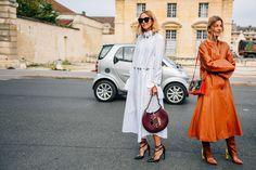 studded shirtdress, leather maxi coat