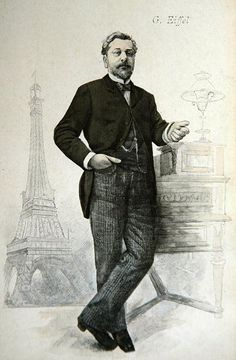 Alexandre Gustave Eiffel posing by his desk with a drawing of the Tour Eiffel, illustration from 'La Revue Illustree', 1888