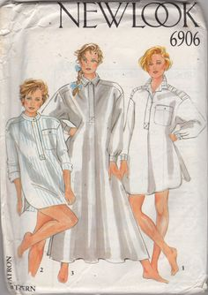 New Look 6906 Misses Tailored Big Shirt Nightshirt Pattern in Three Lengths womens vintage sewing pattern by mbchills