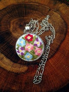 Modern necklace Summer necklace Embroidered pendant