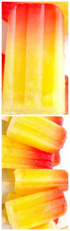 Tropical Tequila Sunrise Popsicles ~ These popsicles are so easy to make, and even better to eat. Trust me. Only 4 ingredients needed – tequila, pineapple juice, fresh pineapple (pureed), and grenadine.