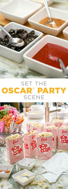 A popcorn buffet is a fun way to let guests get involved with the party and customize their own food. (Plus, is it even legal to have an Oscar party without popcorn?) Offer a variety of spices and toppings (like cookies, salt, garlic or cheese) so guests get to make their popcorn just how they like it (and you don't have to spend all night making custom orders). The popcorn boxes from Kohl's are a fun way to add color and nostalgia. #AllTheGoodStuff