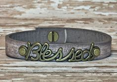Blessed Distressed Brown Leather Bracelet | Designs by Jen, Beaded Wrap Bracelets, Leather Bracelets