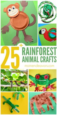 A roundup of 25 animal crafts! Great activity to add to any jungle or rain forest unit! A roundup of 25 animal crafts! Great activity to add to any jungle or rain forest unit! Rainforest Preschool, Rainforest Classroom, Rainforest Crafts, Rainforest Project, Preschool Jungle, Jungle Theme Classroom, Rainforest Theme, Preschool Crafts, Jungle Theme Crafts