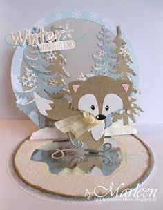 Winter pop-up card Pop Up Cards, Cool Cards, Baby Cards, Kids Cards, Handmade Christmas, Christmas Crafts, Die Cut Christmas Cards, Marianne Design Cards, Rena