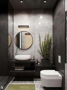 graues Badezimmer, ein winziges Badezimmer mit Deckenleuchte, runder Spiegel, Badezimmer Ideen für kleine Bäder