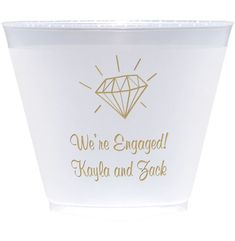 Proclaim your engagement on frosted plastic cocktail cups personalized with a design and your important announcement. Wedding Designs, Wedding Ideas, Wedding Cups, Dessert Cups, Personalized Cups, Plastic Cups, Tumbler Cups, Announcement, Liquor