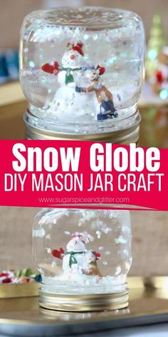 Kids Snow Globe Craft, Snow Globe Crafts, Diy Snow Globe, Snow Globe Mason Jar, Easy Christmas Crafts, Christmas Gifts For Kids, Diy Homemade Christmas Gifts, Homemade Gifts, Diy Christmas Home Decor