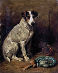 John Emms (1843-1912) - Oil painting - Portrait of a seated Fox Terrier