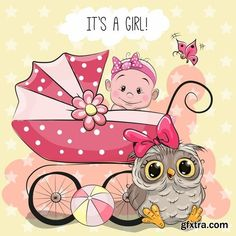 Baby girl with baby carriage and teddy bear vector image on VectorStock Baby Shower Greeting Cards, Baby Cards, Baby Cartoon, Cute Cartoon, Scrapbook Bebe, Baby Teddy Bear, Blue Nose Friends, Baby Stickers, Baby Painting