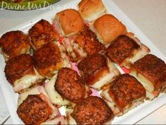 DivineMrsDiva.com - Party Appetizers: Baked Ham and Cheese Sandwiches