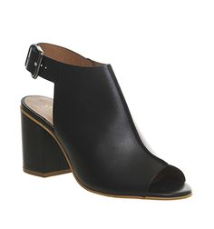 Office Wanderlust Peep Toe Shoe Boot Black Leather - Mid Heels