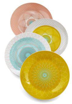 Swirl Talk Plate Set Mod Retro Vintage Kitchen com on Shop For Fun