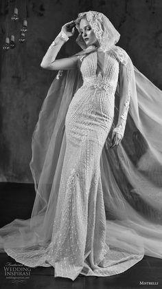 mistrelli 2019 bridal long sleeves jewel neck keyhole bodice full embellishment glitzy glamorous fit and flare sheath wedding dress with cloak keyhole back chapel train (11) mv -- Mistrelli 2019 Wedding Dresses | Wedding Inspirasi #wedding #weddings #bridal #weddingdress #bride ~