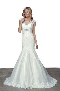 mermaid cap sleeveless long glamorous sheer lace wedding dress