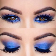 """@anastasiabeverlyhills """"Brow Wiz"""" pencil and """"Clear"""" brow gel Mac """"Saddle"""" on the crease @anastasiabeverlyhills """"Star Cobalt"""" on the lid. @houseoflashes """"Iconic"""" lashes. Mac """"Feline"""" on the waterline. @toofaced """"Better Than False Lashes"""" mascara"""