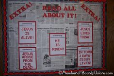 """Church bulletin board for Easter.   You could also do it for Christmas: """"Good news of great joy!"""""""